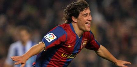 Bojan celebrando su gol ante el Recreativo de Huelva